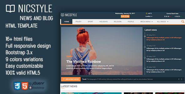 NicStyle - News & Blog HTML Template - Entertainment Site Templates
