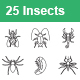 Insects Outlines Vector Icons - GraphicRiver Item for Sale