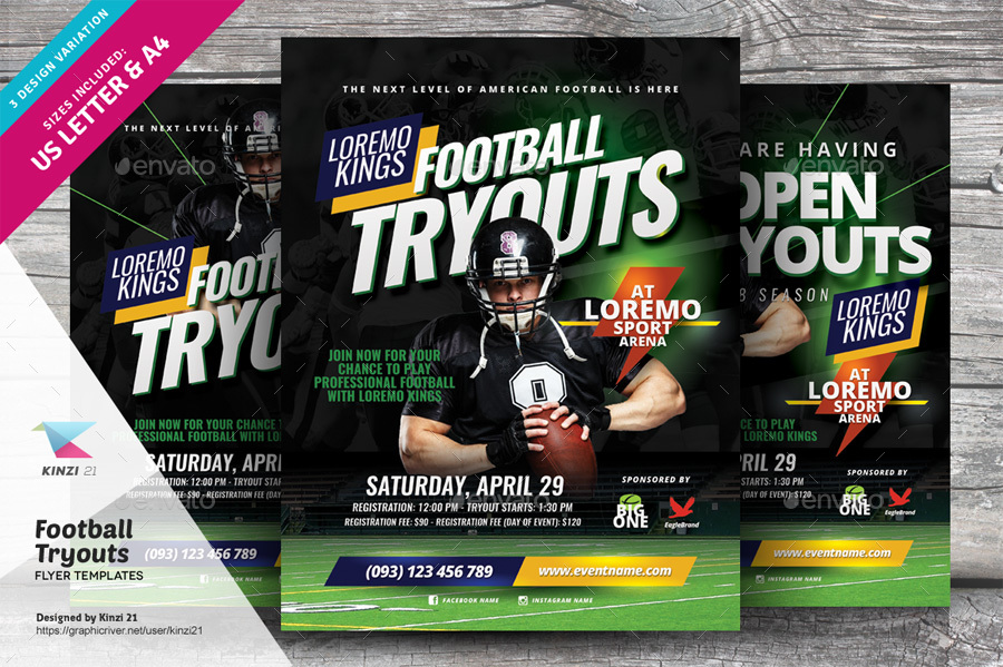 Football Tryouts Flyer Templates By Kinzi21 | Graphicriver