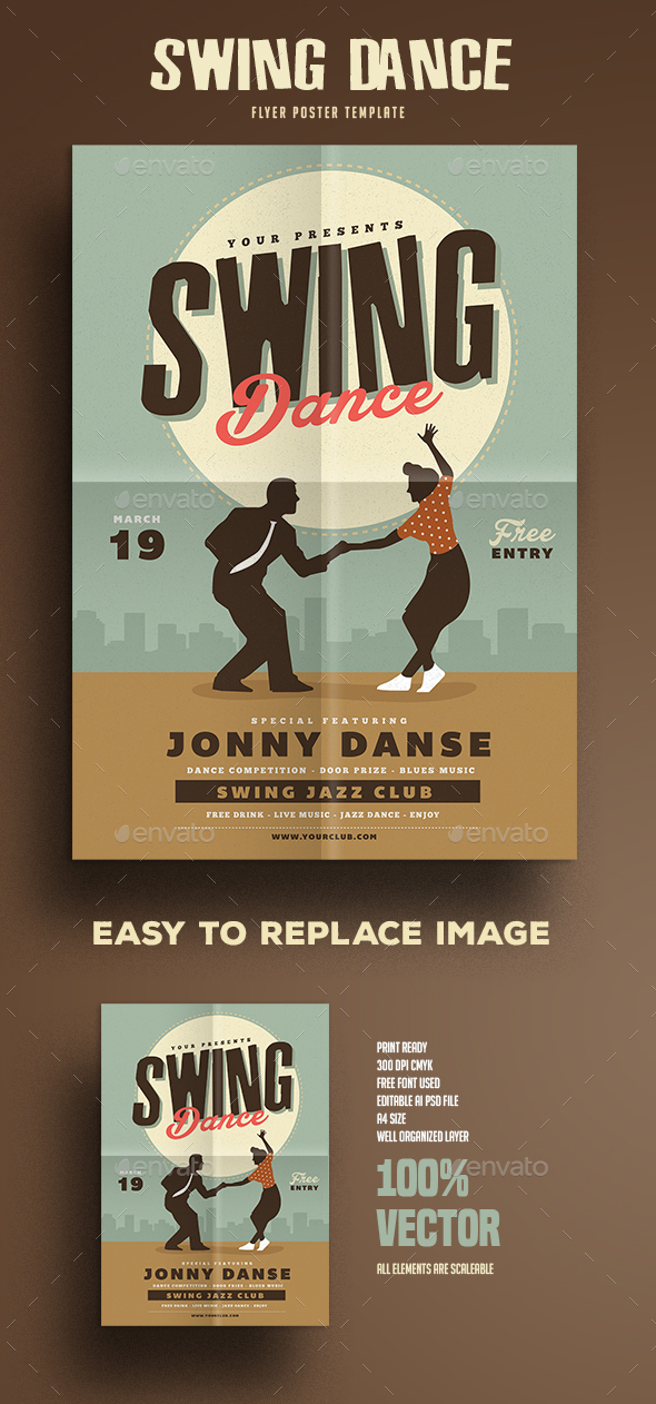 Retro Swing Dance Party Flyer - Events Flyers