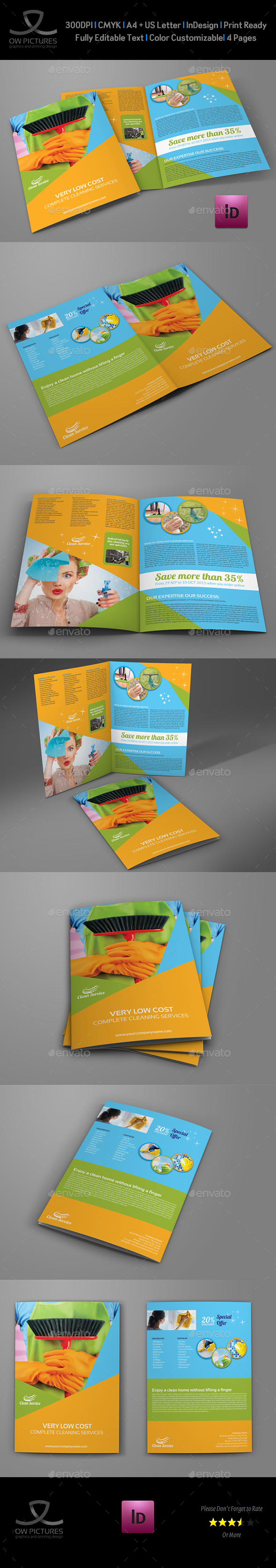 Cleaning Services Bi-Fold Brochure Vol.2 - Corporate Brochures