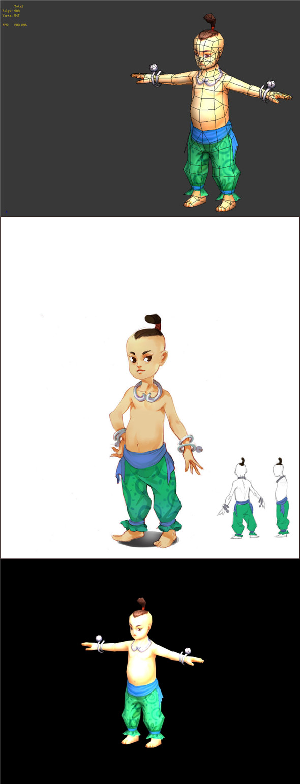 Game Model - Taoist comprehension characters - boy 02 01 - 3DOcean Item for Sale