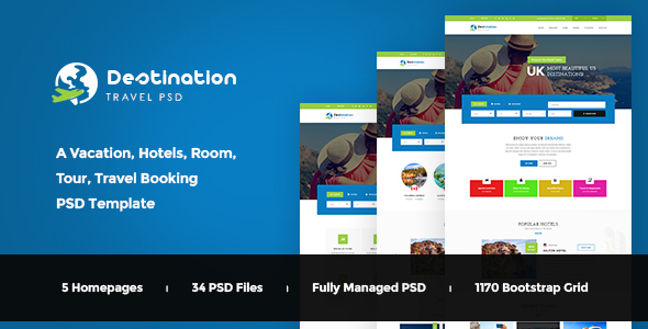 Destination – Hotels, Tours and Travel Booking PSD Template