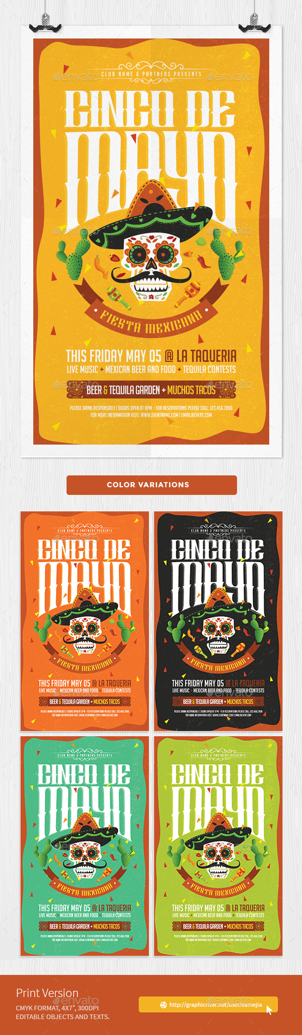 Cinco de Mayo Flyer - Mexican Party - Holidays Events