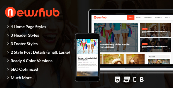 Newshub – Blog & Magazine HTML Template