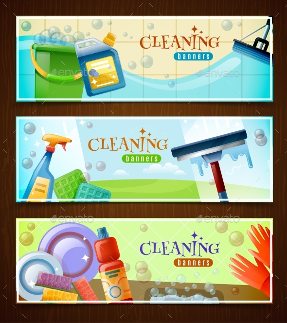 Cleaning Horizontal Banners Set - Services Commercial / Shopping