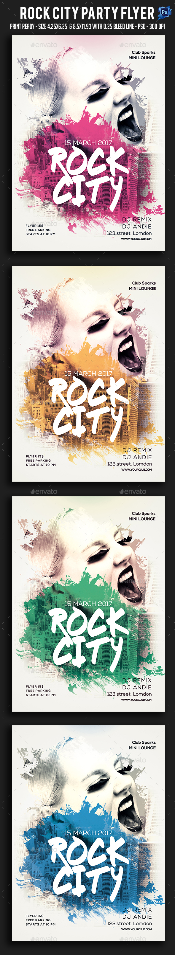 Rock City Party Flyer - Clubs & Parties Events