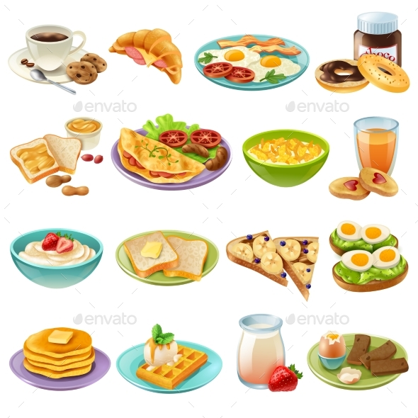 Breakfast Brunch Menu Food Icons Set - Food Objects
