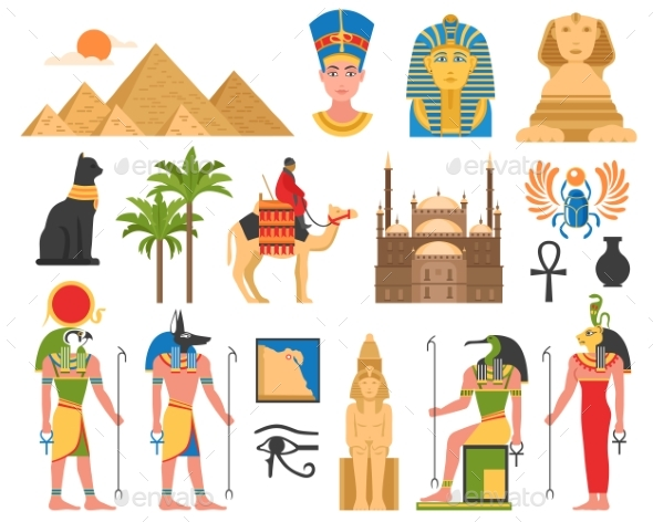 Egyptian Art Flat Collection - Miscellaneous Vectors