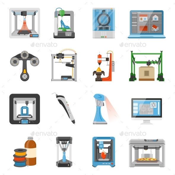 3D Printing Icons Set - Man-made Objects Objects
