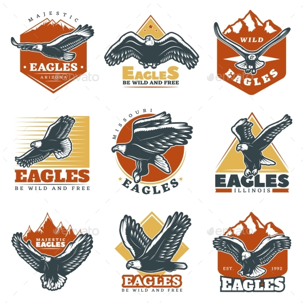 VintageEagles Labels Set - Animals Characters
