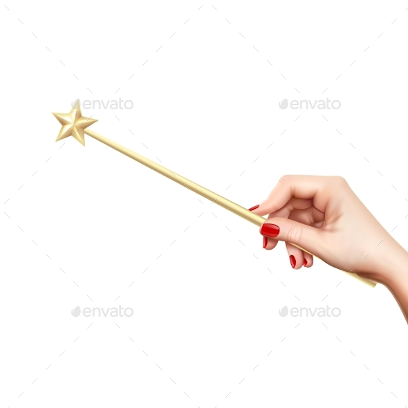 Realistic Magic Wand In Hand - Miscellaneous Vectors