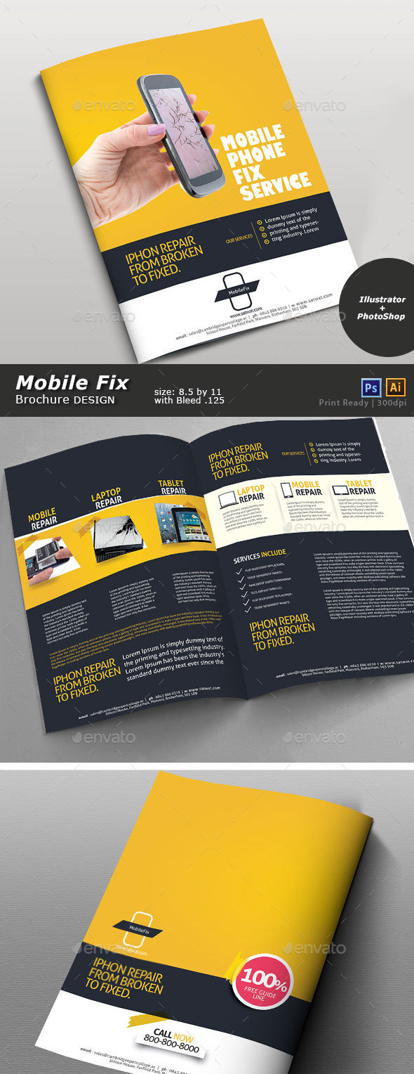 Cellular Repair Brochure Design - Brochures Print Templates