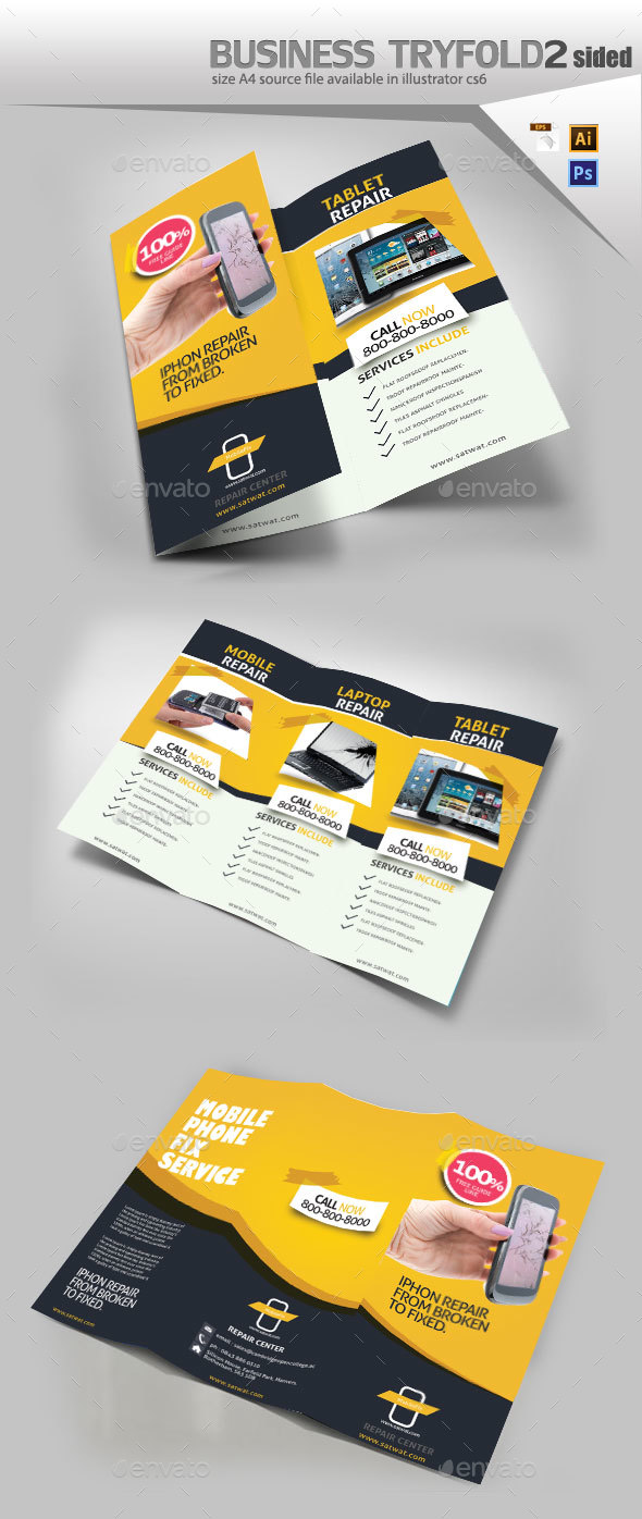 Cellular Repair TriFold - Brochures Print Templates