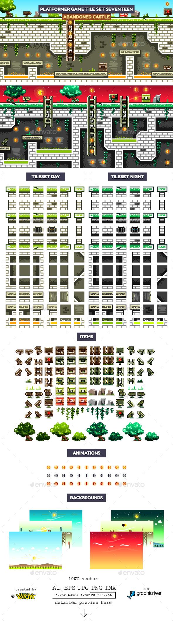 Platformer Game Tile Set Seventeen - Tilesets Game Assets