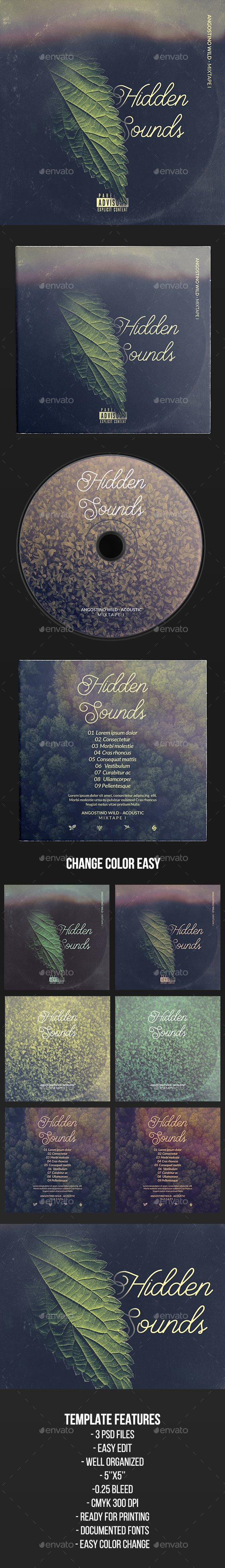 Hidden Sounds - CD Cover Artwork Template - CD & DVD Artwork Print Templates