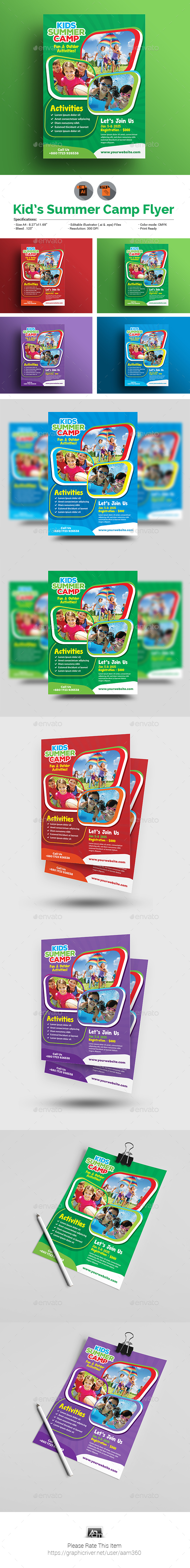 Kid's Summer Camp Flyer - Flyers Print Templates