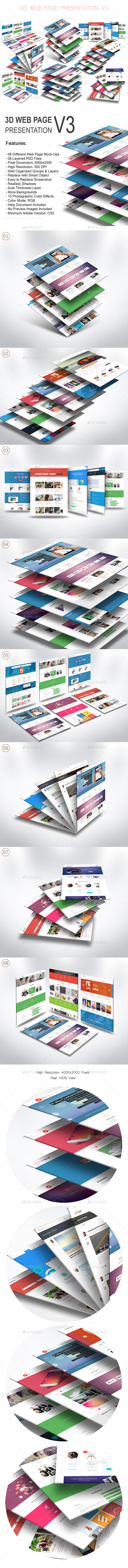 3D Web Page Presentation Mock-Up V3 - Website Displays