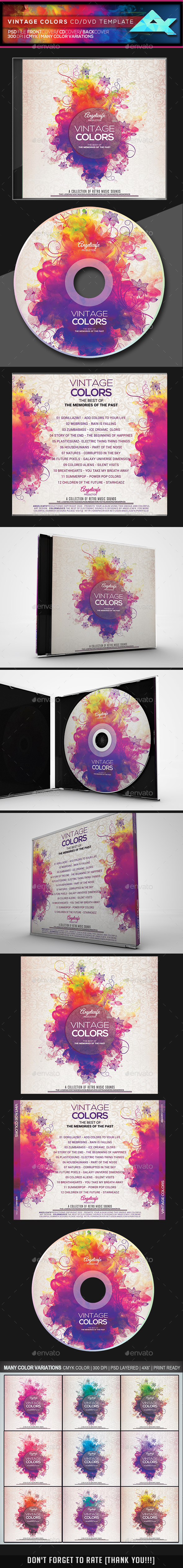 Vintage Colors CD/DVD Template - CD & DVD Artwork Print Templates