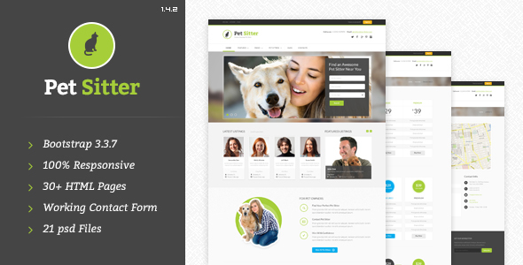 Pet Sitter - Job Board HTML Template - Corporate Site Templates