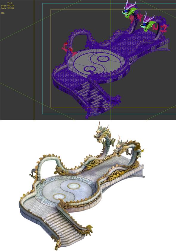 Game Model - Taoist comprehension scene - Gordon Xianqiao Dragon Bridge 01 - 3DOcean Item for Sale