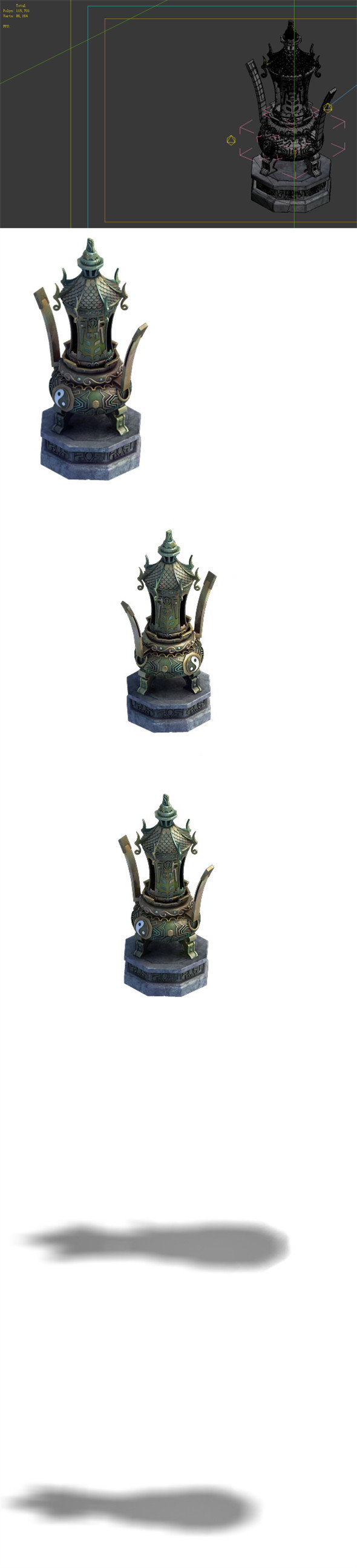 Game Model - Taoist comprehension scene - incense burner stove large decorative stove 01 - 3DOcean Item for Sale