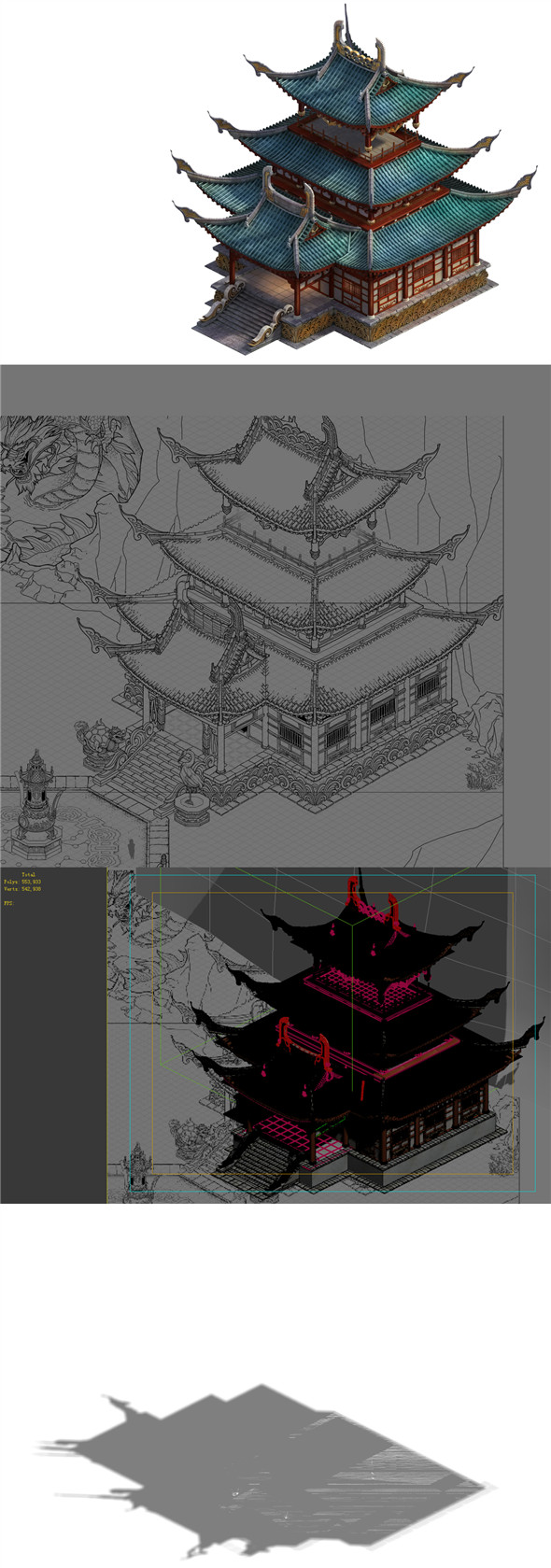Game Model - Taoist comprehension scene - martial hall building layout point 01 - 3DOcean Item for Sale