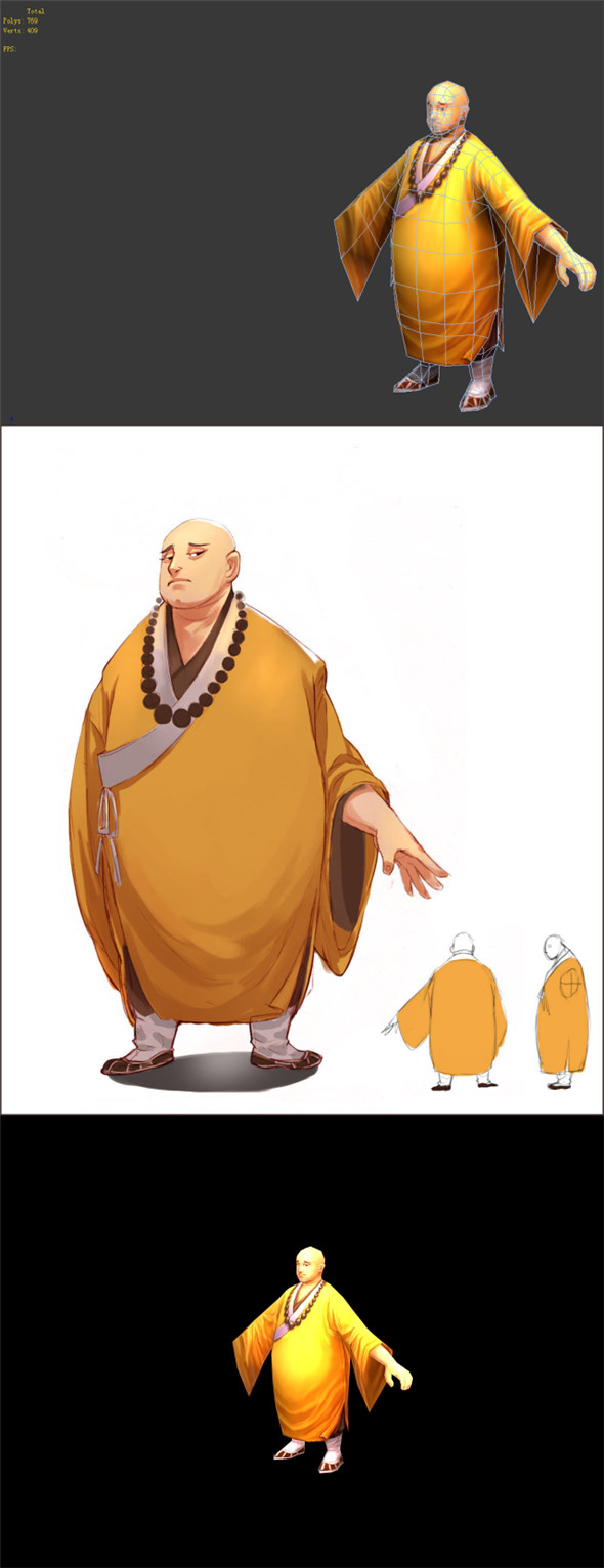 Game Model - Taoist comprehension scene - obese monk 01 - 3DOcean Item for Sale