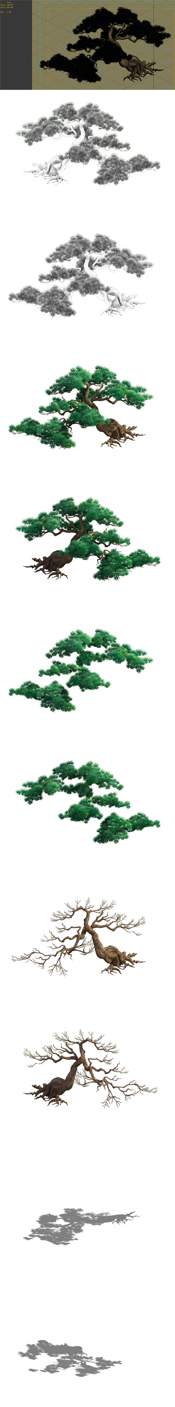 Game Model - Taoist comprehension scene - Pine 04 01 - 3DOcean Item for Sale