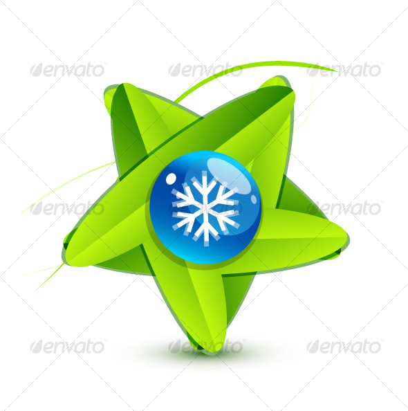 Green leaf symbol with snowflake - Nature Conceptual