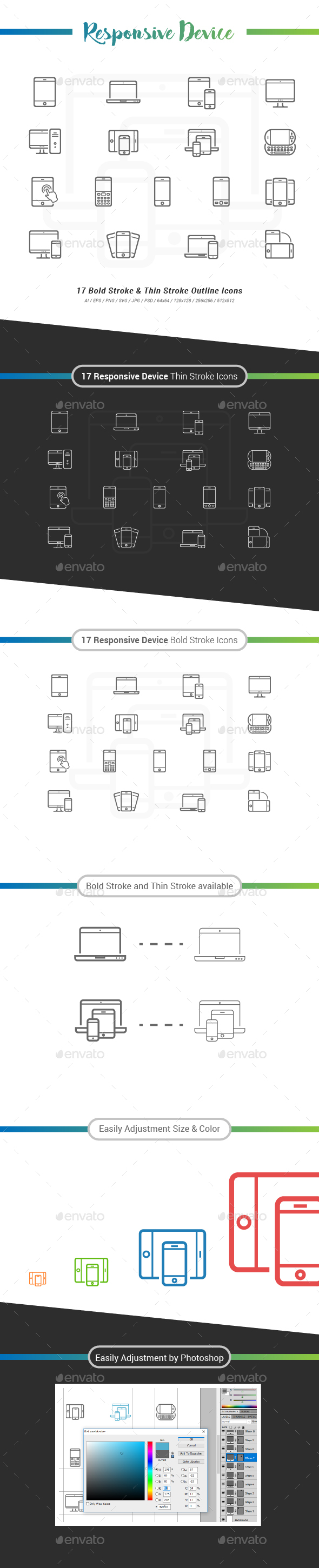 Responsive Device Outline Icon - Technology Icons