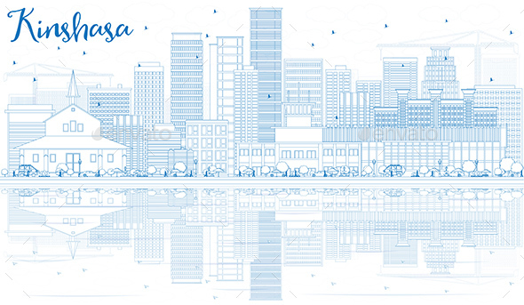 Outline Kinshasa Skyline with Blue Buildings and Reflections - Buildings Objects
