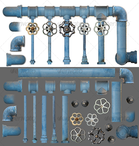Pipes and Valves kit 1 - Industrial & Science Isolated Objects