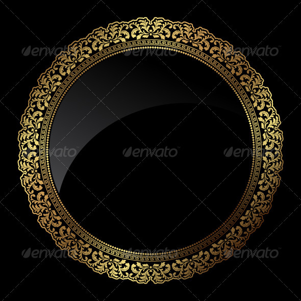 Circular gold frame - Backgrounds Decorative