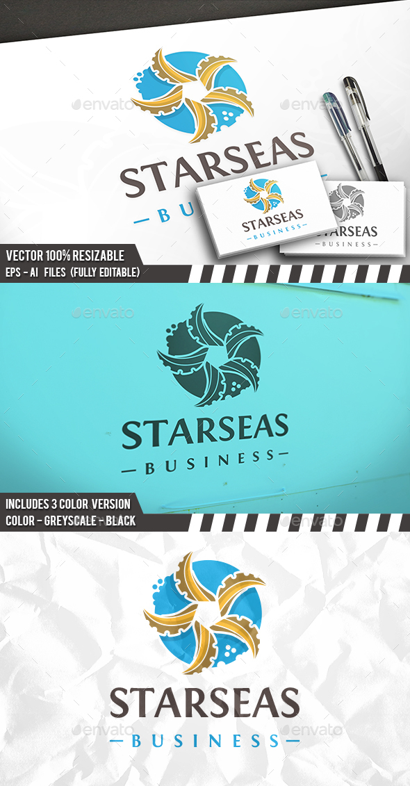 Sea Star Logo - Vector Abstract