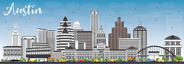 Austin Skyline with Gray Buildings and Blue Sky - Buildings Objects