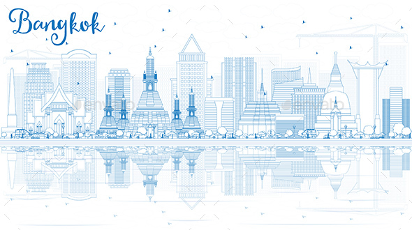 Outline Bangkok Skyline with Blue Landmarks and Reflections - Buildings Objects
