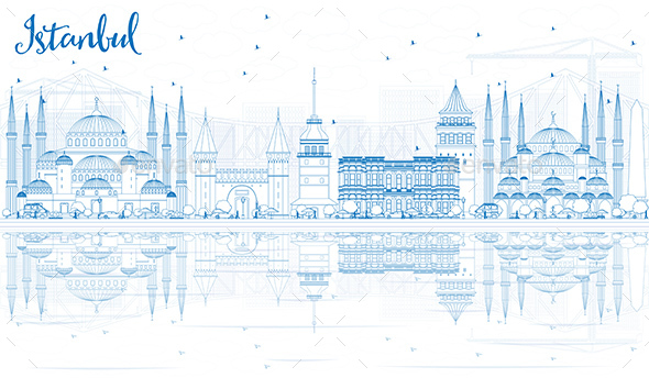 Outline Istanbul Skyline with Blue Landmarks and Reflections - Buildings Objects