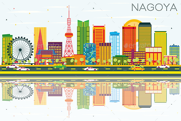 Nagoya Skyline with Color Buildings, Blue Sky and Reflections - Buildings Objects