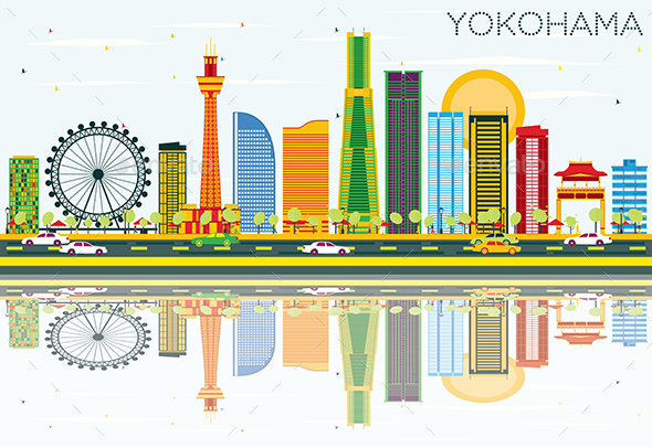 Yokohama Skyline with Color Buildings, Blue Sky and Reflections - Buildings Objects