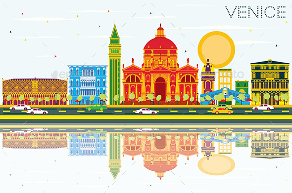 Venice Skyline with Color Buildings, Blue Sky and Reflections - Buildings Objects