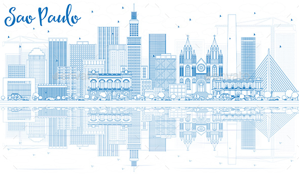 Outline Sao Paulo Skyline with Blue Buildings and Reflections - Buildings Objects