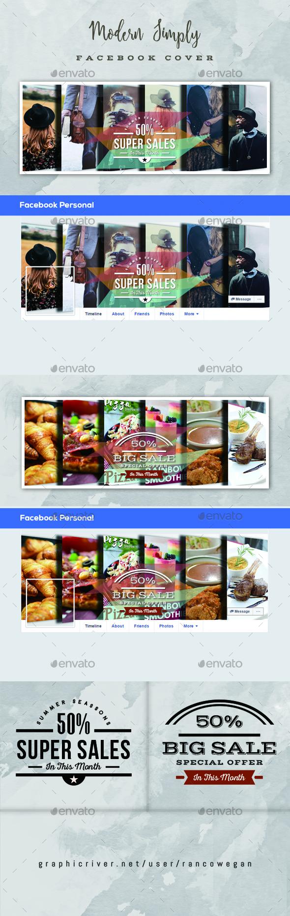 Modern Simply Facebook Cover Vol. 1 - Social Media Web Elements
