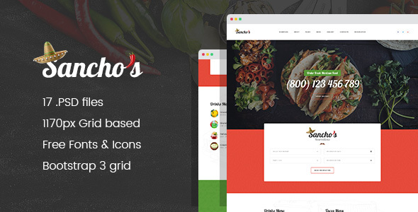Sancho's - Mexican Food Restaurant and Delivery Service PSD Template