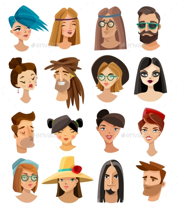 Avatars Set In Cartoon Style - People Characters