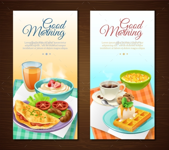 Breakfast Vertical Banners - Food Objects