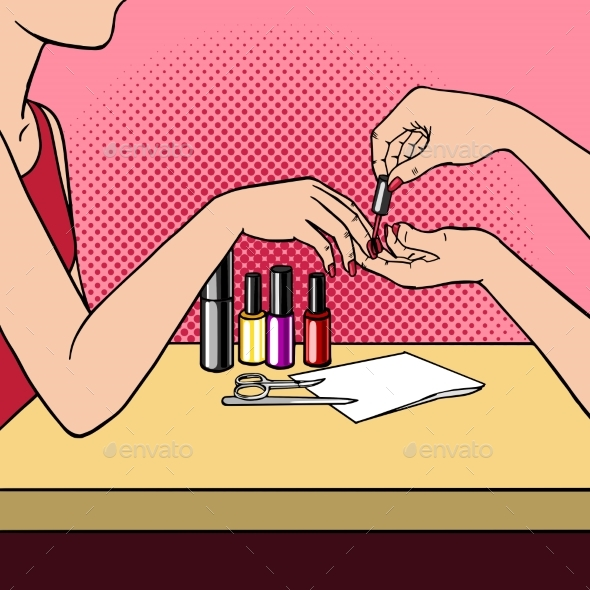 Woman Making Manicure Pop Art Style Vector - People Characters