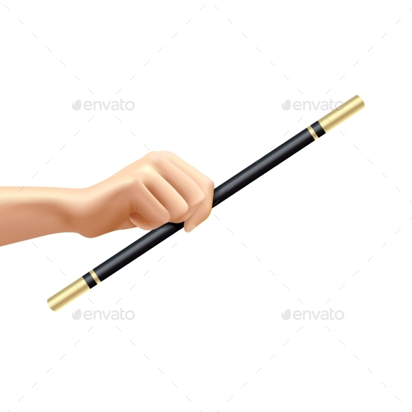 Realistic Magic Wand In Hand - Objects Vectors