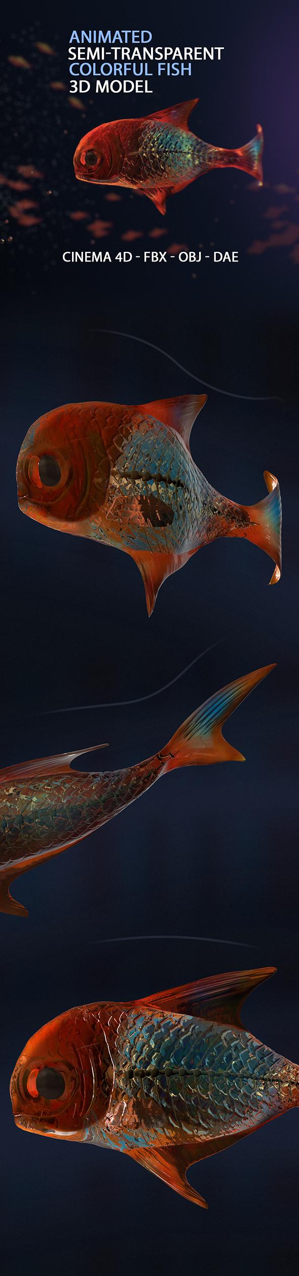 Animate Semi-transparent Fish Model - 3DOcean Item for Sale