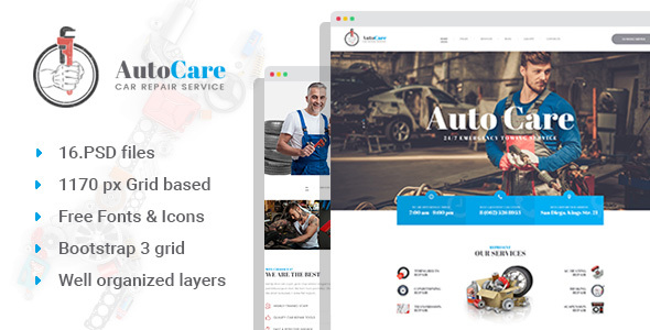 AutoCare - Auto Service/Repair Station PSD Template - Business Corporate